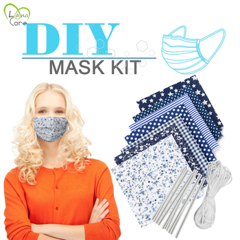 7 Set Mask Nose Bridge Strip DIY Mouth Mask Set Elastic Band Fabric Dedicated DIY Craft Making kit (7Pcs can be Made) 9 Styles