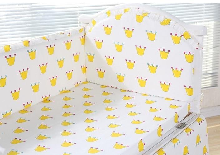 6PCS Crown Cotton Cot Baby Bedding Set Cartoon Crib Bedding Set jogo de cama Nursery Crib Bedding  (4bumpers+sheet+pillow cover)