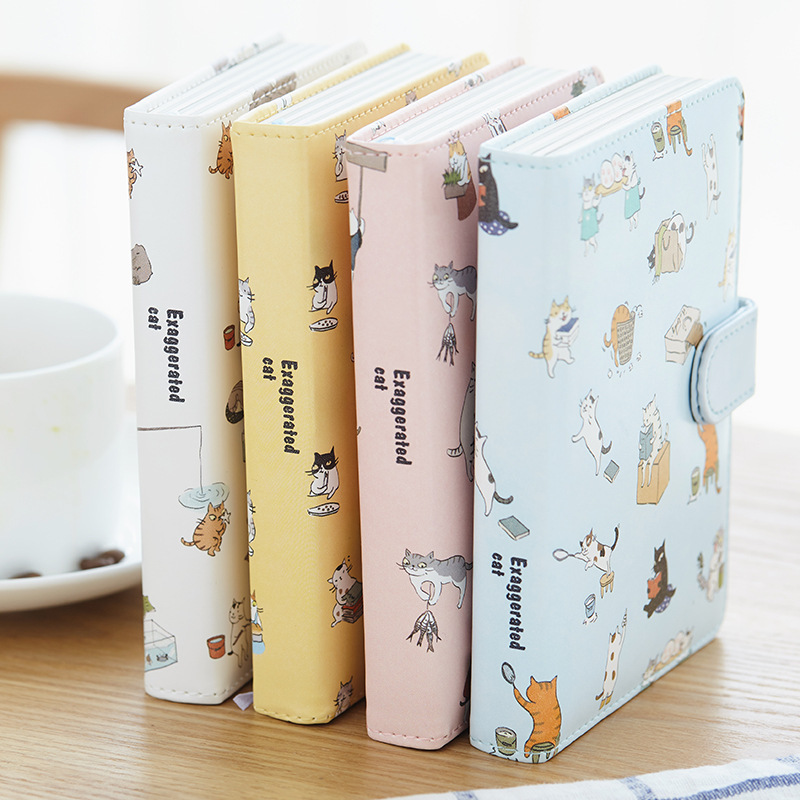 Cute Kawaii Cat Stationery Leather Notebook Japanese Style Color Page Notebook Bullet Diary Agenda <font><b>2020</b></font> <font><b>Planner</b></font> Filofax Notepad image