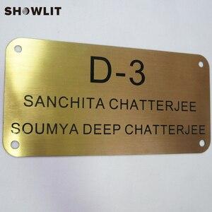 Image 2 - Placa de bronze dourada adesivos de parede decorativos/porta adesivos hotel placas da porta dormitório casa placa de endereço
