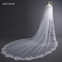 New Bridal Veil with Comb Cathedral Wedding Veils Long Lace Edge Wedding Accessories Bride Mantilla Wedding Veil