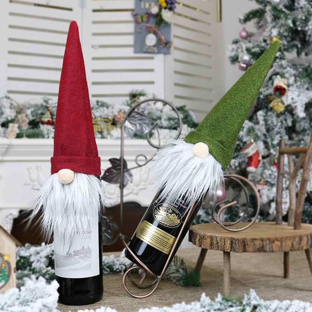 Taoup Flachs Hanf Plaid Streifen Frohe Weihnachten Wein Flasche Abdeckung Ornamente Christams Tisch Dekore Weihnachten Dekor für Home Noel Navidad