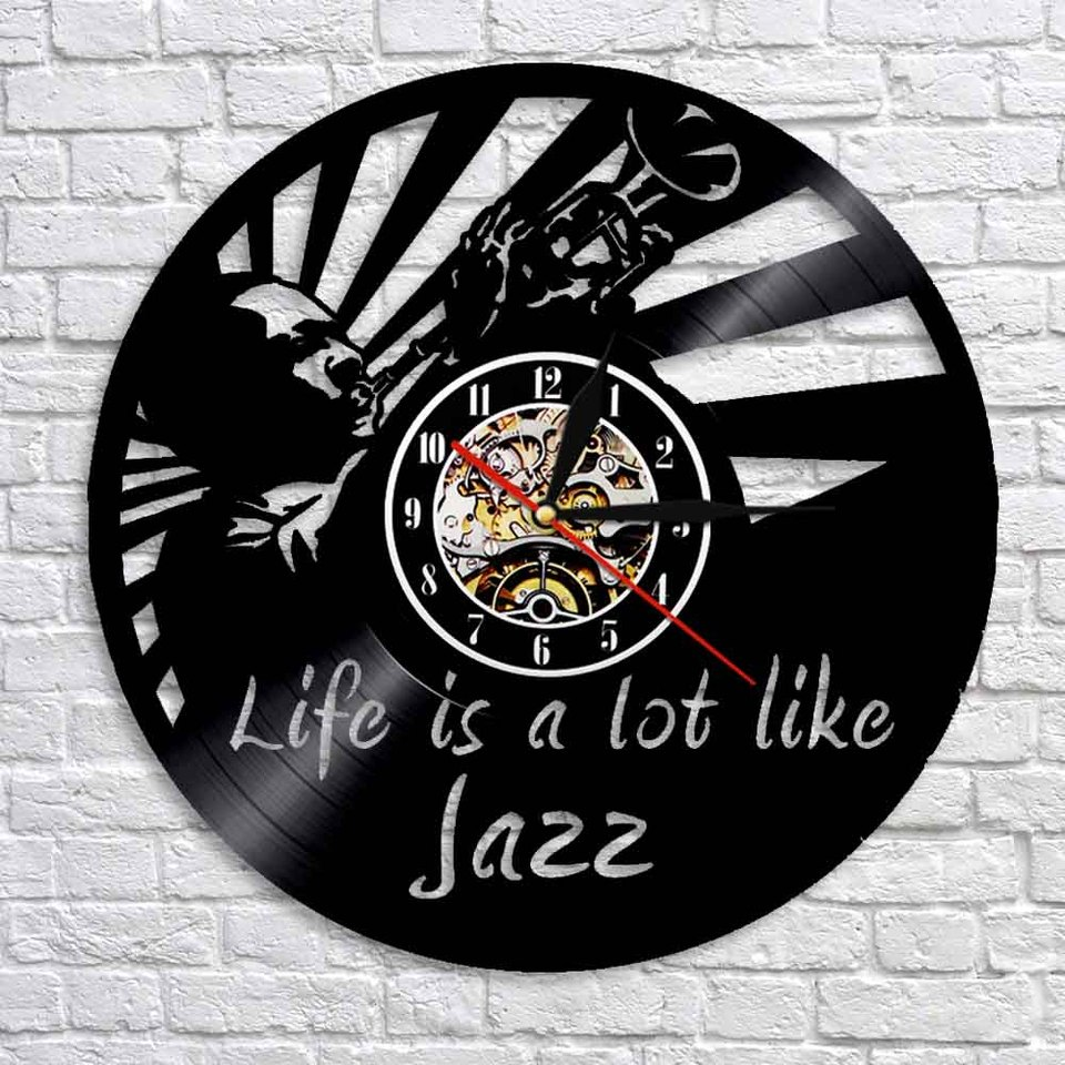 Jazz Is A Lot Like Life Vinyl Record Clock Music Quotes Wall Art Vintage Wall Clock Jazz Art Music Clock Gift For Jazz Lovers Wall Clocks Aliexpress