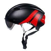 2020 novo à prova de vento capacete da bicicleta segurança equitação caps respirável mountain road mtb capacetes com óculos lente removível