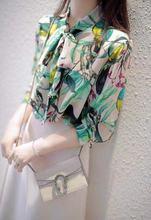 AH12446 moda damska bluzki i koszule 2020 Runway Luxury famous Brand wzór europejski styl imprezowy odzież damska tanie tanio runwaybox Poliester REGULAR Suknem Łuk Kobiety Przycisk Drukuj Pełna Na co dzień