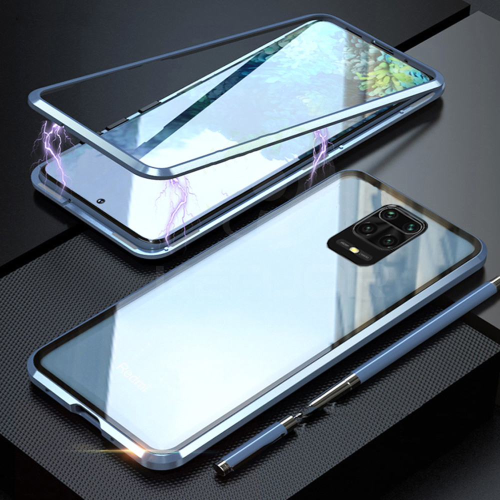 Front + Back Tempered Glass Case For Xiaomi Redmi Note 9s Case Metal Magnetic Adsorption Cover For Xiaomi Redmi Note 9 Pro Max