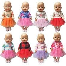 Vestido de boneca 43 cm roupas de boneca de bebê vestido de renda 18 Polegada geração americana menina vestido de boneca