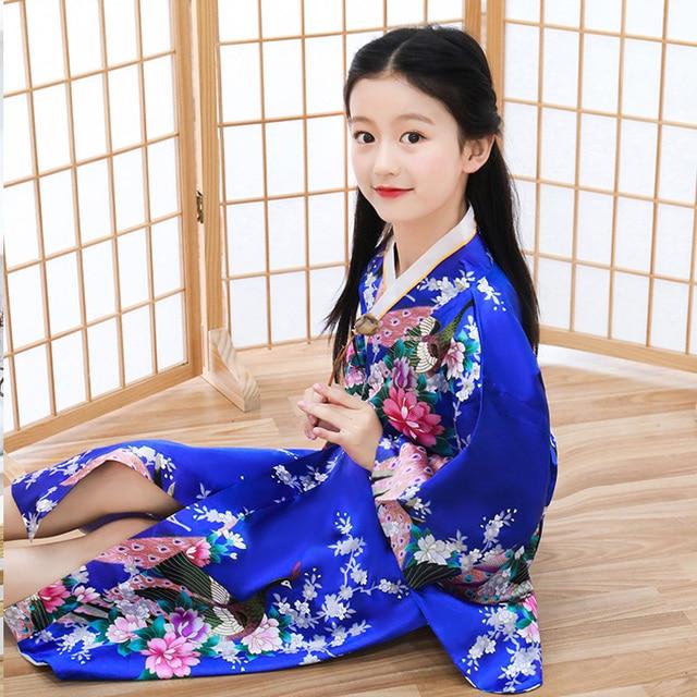New Japanese Childrens Girls Black with Flower Prints Long Kimono Outfit gjk4