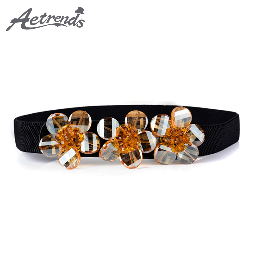 [AETRENDS] Fashion Rhinestone Crystal Beads Waist Belts For Women Lady Dress Cinch Belt Waistband D-0149