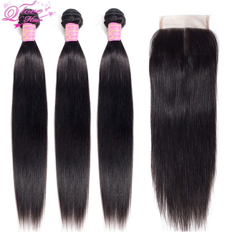 Queen Love Straight 30 Inch Hair Bundles With Closure Human NonRemy Hair Extension Brazilian Hair Weave Bundles With LaceClosure