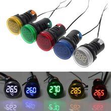 22 мм AC 50-380 В термометр индикатор светильник светодиодный цифровой дисплей датчик температуры измерения индукции диапазон-20-199C