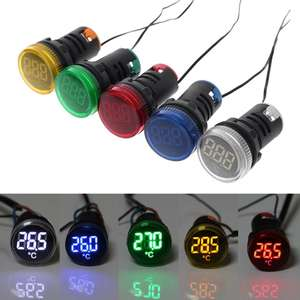 Indicator-Light Temperature-Measuring-Induction LED AC 50-380V Ranging-20-199c 22mm Digital-Display-Gauge
