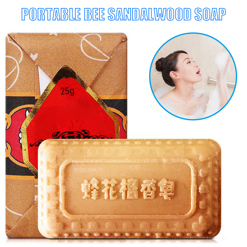 Newly 25g Mini Soap Bee Flower Sandalwood Acne Soap Bath Removing Mites Travel Package Toilet Soaps CTN88