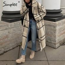 Simplee エレガントな格子縞の女性のツイードコートのボタンポケット秋冬女性ブレンドコート v ネックオフィスレディース暖かいロングオーバーコート