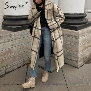 Image 1 - Simplee אלגנטי משובץ נשים טוויד מעיל כפתורי כיסי סתיו חורף נקבה מעילי תערובת V צוואר משרד ארוך חם מעילי