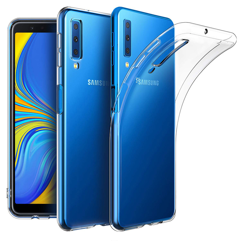 Прозрачные силиконовые чехлы для Samsung Galaxy A7 2018, роскошный чехол, Мягкий защитный чехол из ТПУ для камеры A72018 A750