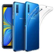 Casos de silicone transparente para samsung galaxy a7 2018 caso capa de luxo macio câmera tpu telefone protetor volta coque a72018 a750
