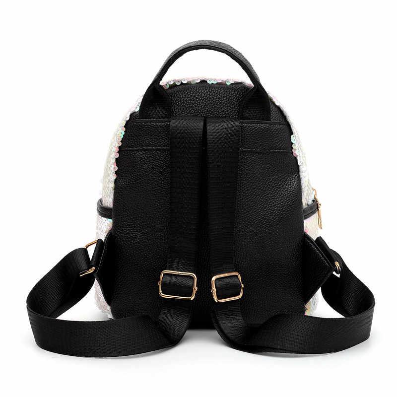 Мини-рюкзак с единорогом, кожаная Двусторонняя блестящая женская сумка через плечо, рюкзаки для подростков, Женский туристический рюкзак, новый