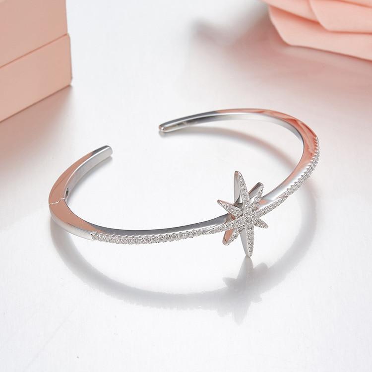 Роскошные браслеты из стерлингового серебра 925 пробы, циркониевые запонки со звездой, для женщин, 2018, Monaco, летние модные регулируемые брасле