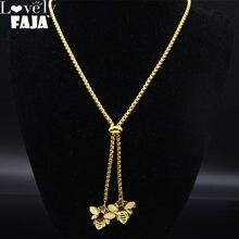 Collar largo de acero inoxidable con abeja para mujer, joya de Color dorado, collares, joyería para mujer, N1376S03