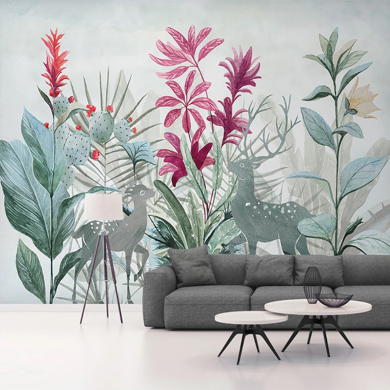 Custom 3D Photo Wallpaper Nordic Tropical Plant Banana Leaf Forest Elk Mural Modern Living Room Restaurant Bedroom Wall Murals