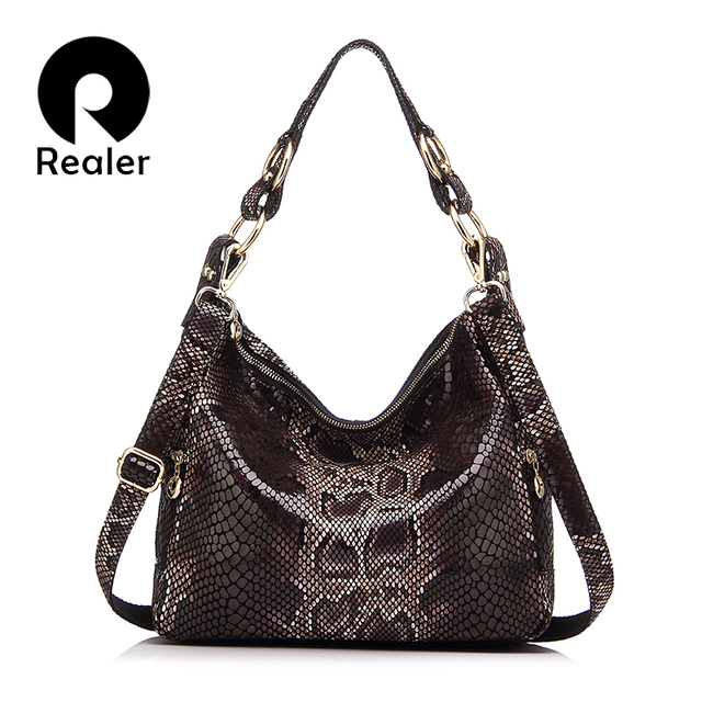 REALER woman handbags genuine leather tote female classic serpentine prints classic shoulder crossbody bags ladies messenger bag