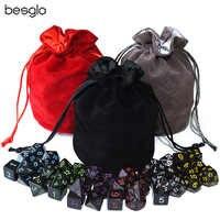 Negro opaco dados poliédricos 6 Sets y bolsa de terciopelo con cordón ajustable para DnD RPG juegos de mesa MTG D4 D6 D8 D10 D % D12 D20