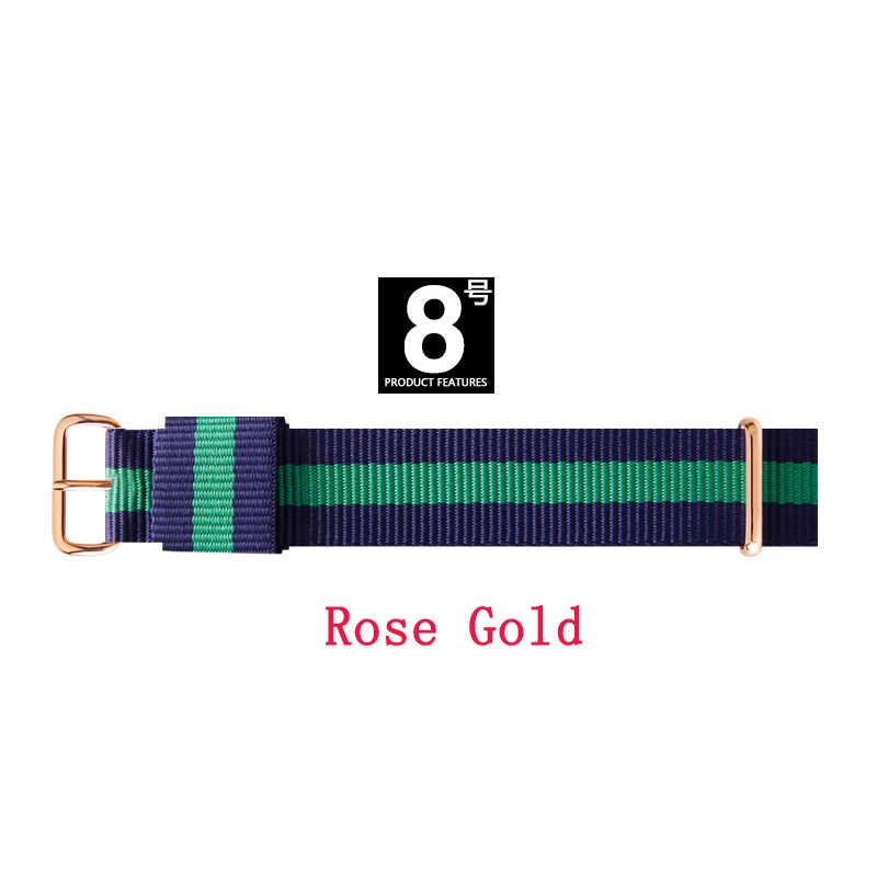 למעלה איכות מותג יוקרה גבירותיי שעונים 18 mm 20 mm ניילון כסף עלה זהב אוהבי גברים נשים שעון רצועת מתנה relogio Feminino