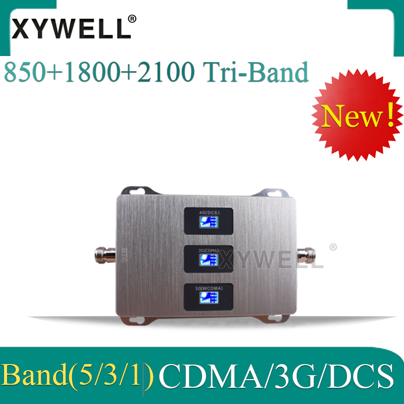 New!!/850/1800/2100 Tri-Band Signal Booster CDMA DCS WCDMA 2g 3g 4g GSM Mobile Signal Repeater 4g Cellular Amplifier
