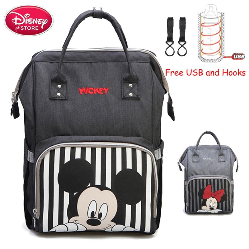 Disney momie sac à couches Mickey Mouse sac à dos maternité Nappy sac bébé voyage bébé sacs pour maman isolation USB biberon alimentation