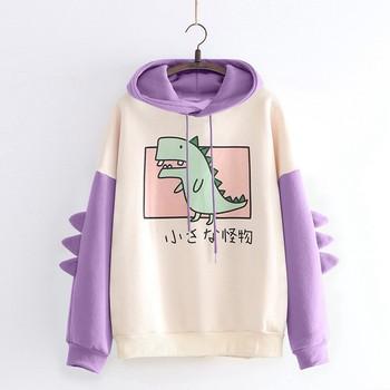 40#Hoodies Women Casual Cute Cartoon Dinosaur Print Long Sleeve Splice Dinosaur Sweatshirt Autumn Winter Warm Pullover Tops 1