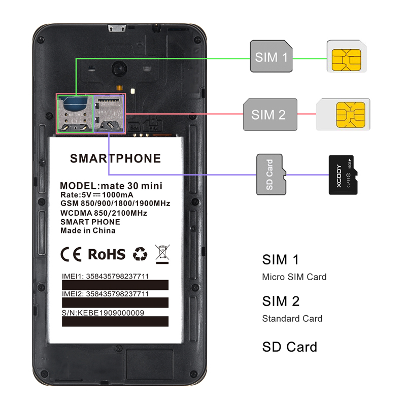 "XGODY Mate 30 Mini 3G Smartphone Android 8.1 Dual Sim 5.5"" 18:9 Full Screen 1GB 4GB MTK6580 Quad Core 5.0MP 2200mAh Mobile Phone 6"
