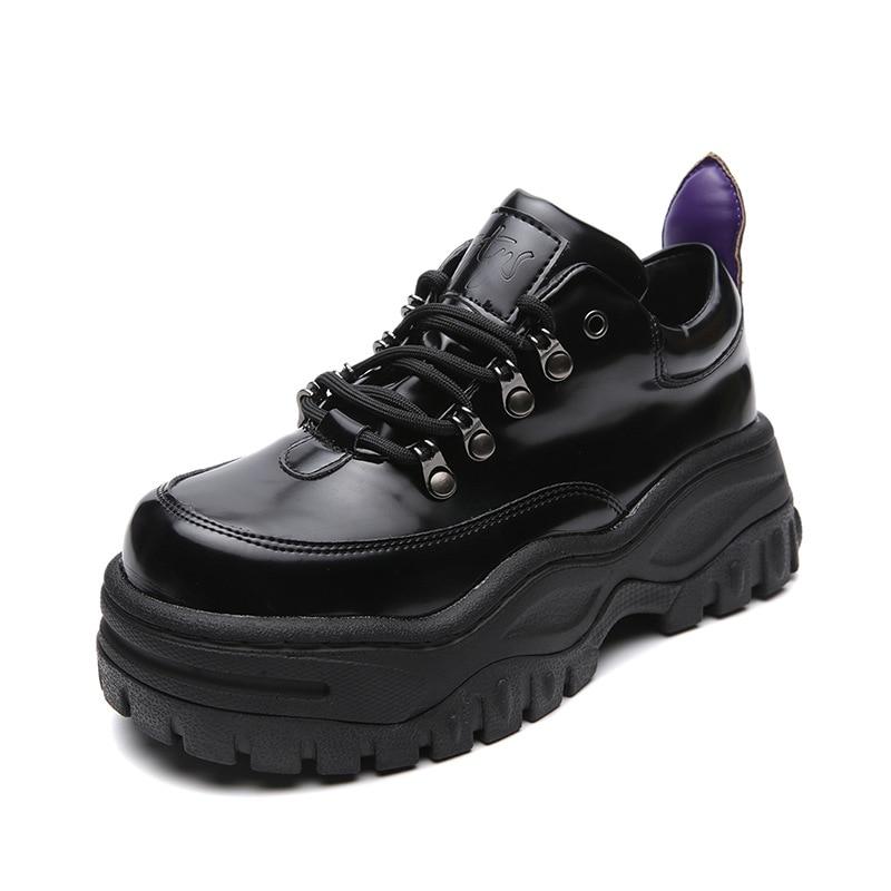 High Quality European And American Retro Platform Sports Shoes Women Low To Help Platform Shoes Black Sports Shoes Women ZW-119