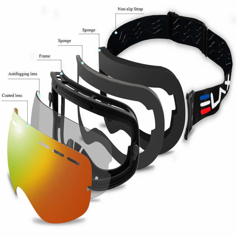 Новые двухслойные незапотевающие лыжные очки ELAX, очки для сноуборда, очки для снегохода, очки для спорта на открытом воздухе, очки для лыж