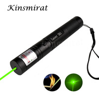 1pcs High Powerful 301 Green light Laser Pointer pen Adjustable Focus 532nm Lazer Pen Visible Beam no Battery