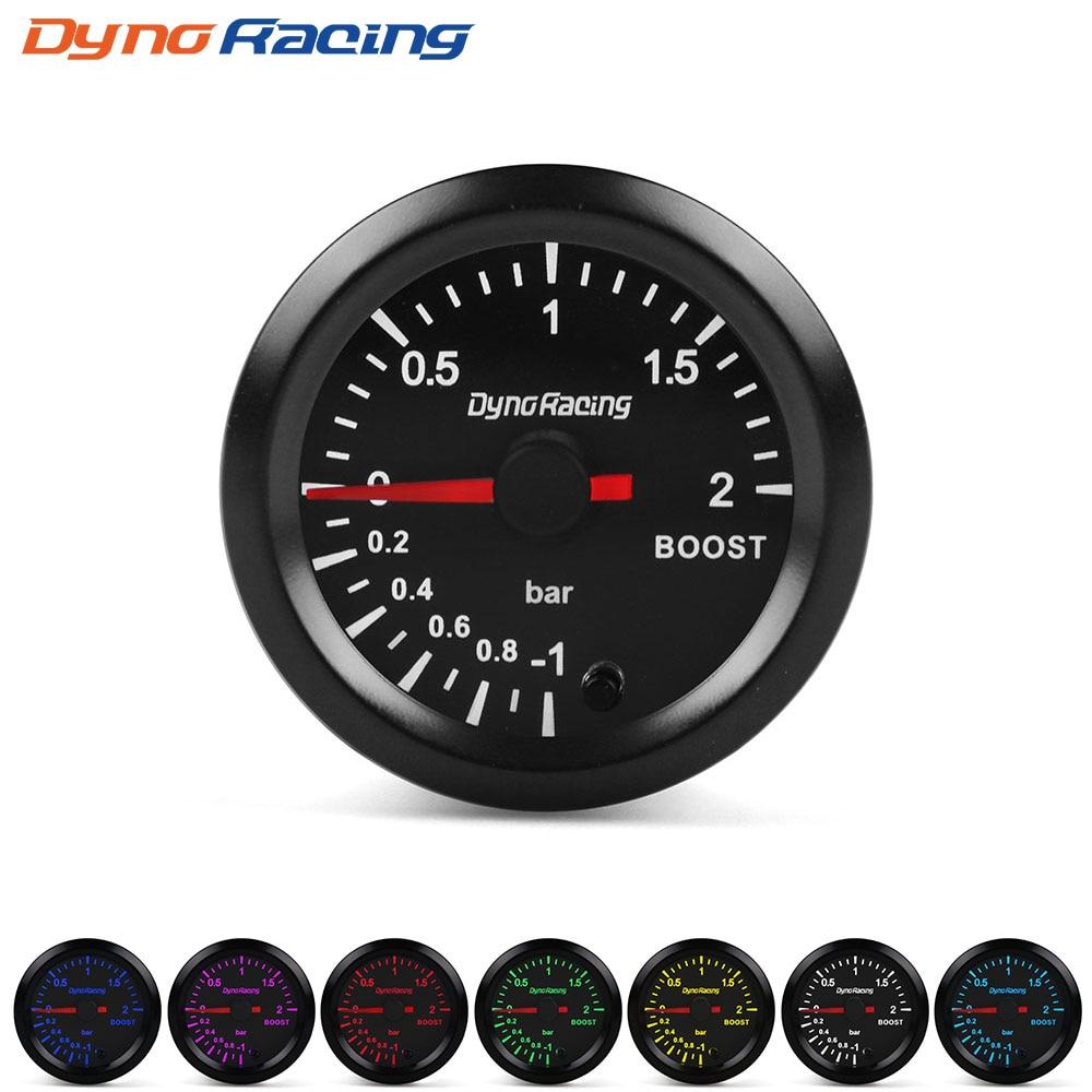 """Dynoracing """" 52 мм 7 видов цветов, высокая скорость, автомобильный наддув, температура воды, температура масла, масло, пресс, воздух, топливо, соотношение вольтметр, EGT, тахометр, Датчик Оборотов - Цвет: Boost gauge bar"""