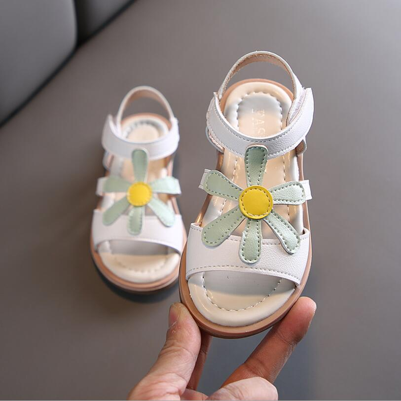 Baby Cute Sandals 2020 New Summer Girls Shoe Children Girls Pu Sunflowers Comfortable Rubber Beach Sandals Toddler Kids Shoes