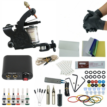 Complete Tattoo Machine Kit Needle Ink Black Power Supply Complete Liner Shader for Beginner complete tattoo kits 8 wrap coils guns machine 1 6oz black tattoo ink sets power supply disposable needle free shipping