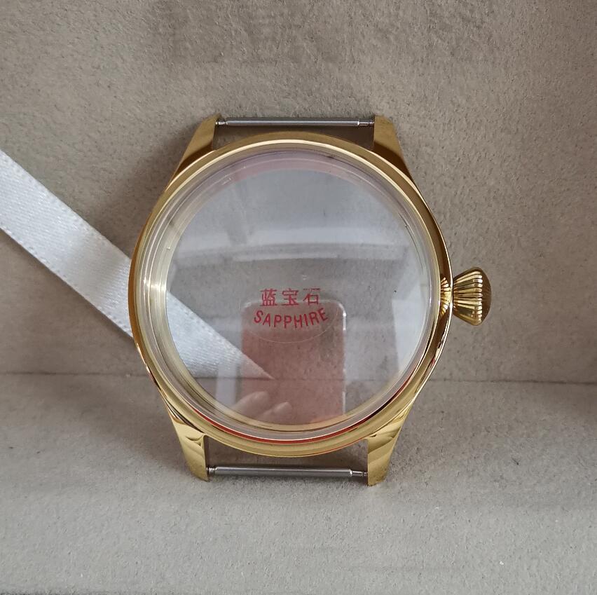 고품질 골든 파일럿 44mm 시계 케이스 316L 스테인레스 스틸 다이아몬드 모양 크라운 사파이어 크리스탈 G017