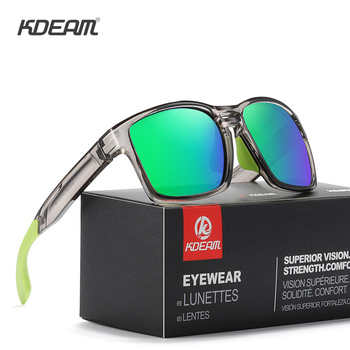 KDEAM Clear View Mirror Men's Sunglasses TR90 Frame with Elastic Rubber Cover Polarized Sunglasses Sport oculos de sol KD503