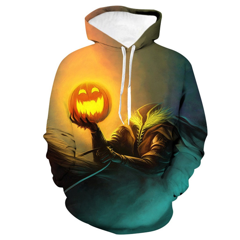 Mens Casual Scary Halloween Hoodie 3D Sweatshirt Autumn And Winter Festival hoody men long sleeves Plus Size Pullover 50Au73