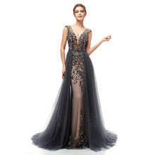 Grey Beading Tulle Mermaid Long Evening Dress 2019 V Neck Sexy Open Back Women Formal Party Dress(China)