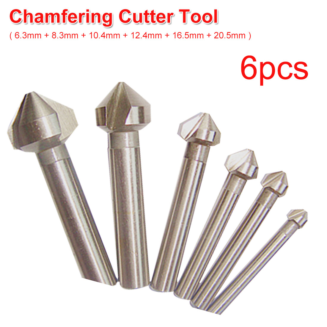 Round Shank 6pcs 3 Flute 90 Degree HSS Chamfer Chamfering Cutter End Mill Tool Countersink Drill Bit Set 6.3mm-20.5mm
