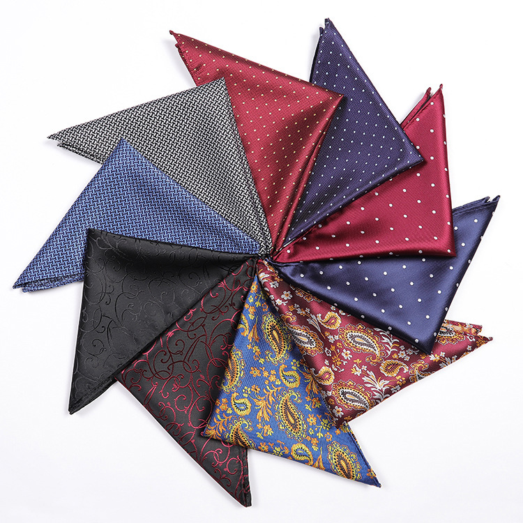 Fashion Pocket Square Blue Business Wedding Men's Ties Cravat Polyester Silk Men Tie Handkerchief Gifts For Men