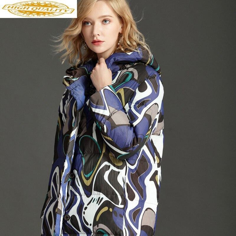 90% White Duck Down Jacket Women Hooded Winter Coat Long Fashion Parka Puffer Jacket Chamarras De Mujer LYH-0086 KJ3022