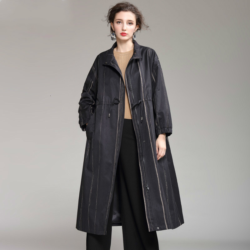 [LANMREM] 2020 Autumn And Winter New Products Fashion Solid Color Lapel Loose Striped Long Trench Coat Female PA621