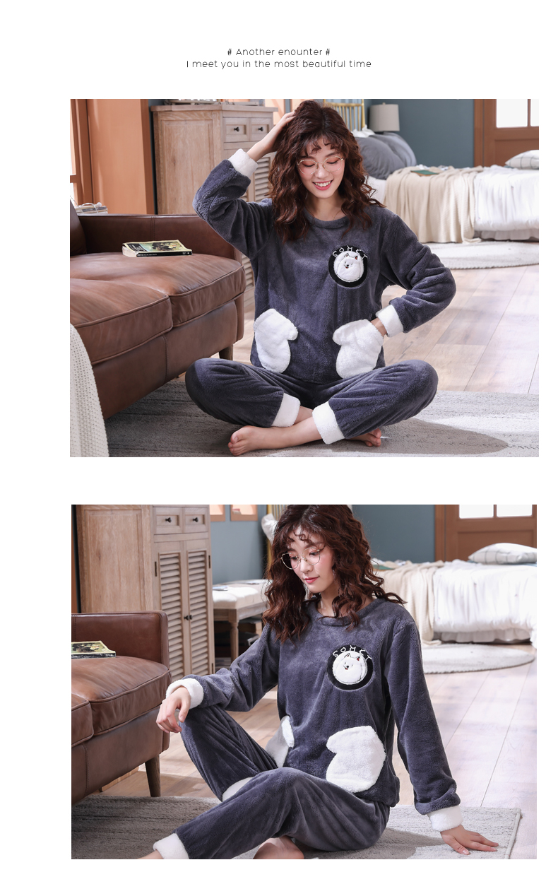 Long Sleeve Warm Flannel Pajamas Winter Women Pajama Sets Print Thicken Sleepwear Pyjamas Plus Size 3XL 4XL 5XL 85kg Nightwear 330