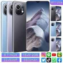 M11 Ultra 6,7 Zoll Smartphone 4G 5G Entsperren 32MP + 50MP 16GB + 512GB 6800mAh handys Telefon Smartphone Globale Version