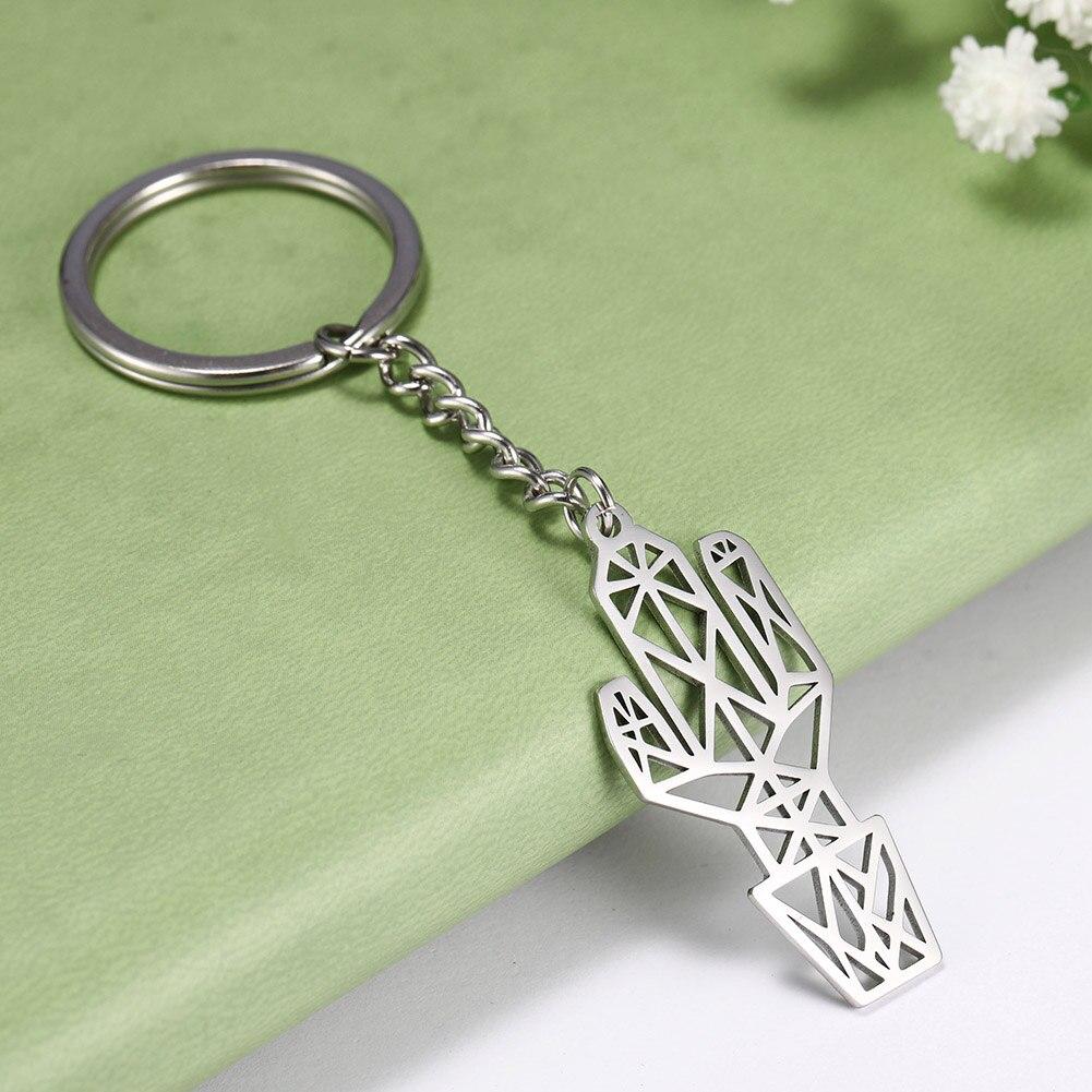 My Shape 316L Stainless Steel Cactus Supernatural Pentagram Pendant Keychain Jewelry Women And Men Keyholder Jewelry Keyring