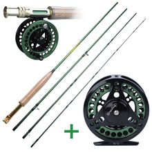 Sougayialng 4 Section Fly Fishing Rod Set #5 6 Carbon Fiber Ultralight Weight Fly Fishing Rod and Fly Reel Combo Tackles cheap Sougayilang Rod+Reel Aluminium Alloy 2 7 m LAKE River Reservoir Pond stream 2 mm 2 7m Green Gold and green Black and green